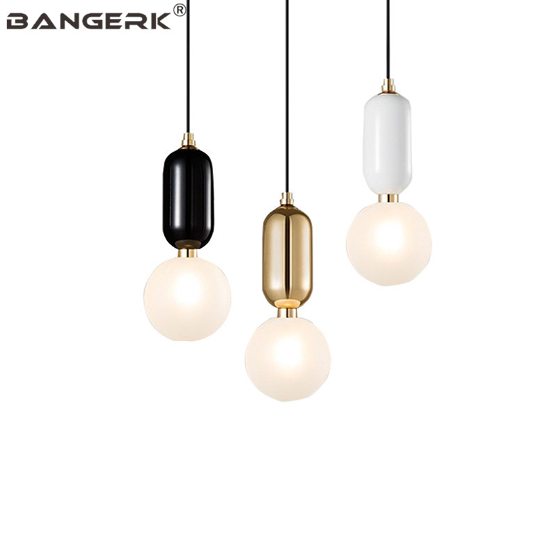 Simple Iron Glass Ball Luminaire LED Pendant Light Modern Indoor Hanging Lamp Home Deco Lights Pendant Lighting Fixtures iwhd 25 heads lampen iron modern pendant light fixtures glass ball led hanging lamp home lighting luminaire suspendu lustre