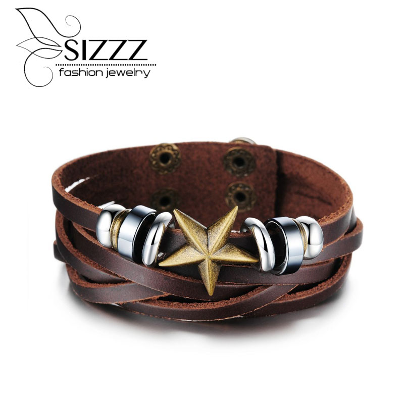 SIZZZ 22cm Long 19g Weight Hot jewelry wholesale new jewelry retro brown color bracelet for men