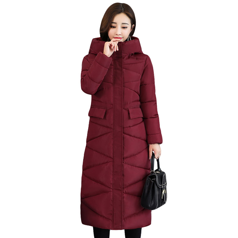 2018 New Fashion Design Women Winter Coat Jacket Warm Thick   Parkas   Long Female Overcoat Women Hooded Coat Cotton Padded Jacket