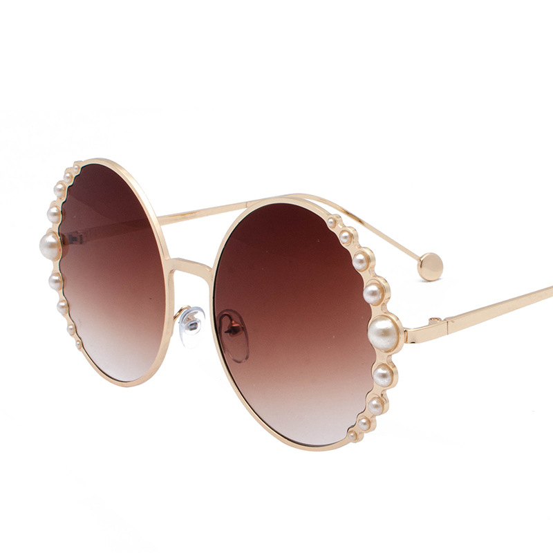 Image 2 - Designer Fashion Sunglasses Round with pearls in Black Gold  Woman's Beach Shades in Red Discount hot brand with case free ship-in Men's Sunglasses from Apparel Accessories