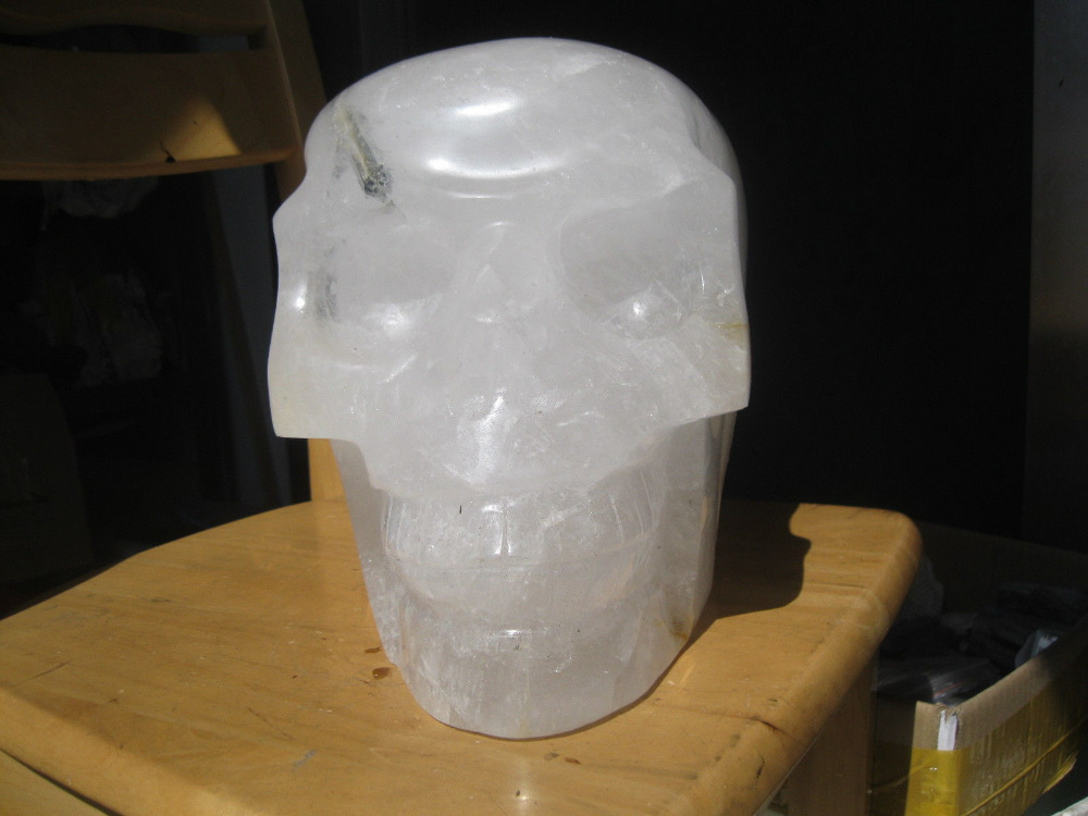 Xd J00879 HUGE NATURAL TOURMALINE QUARTZ CRYSTAL SKULL CARVED China