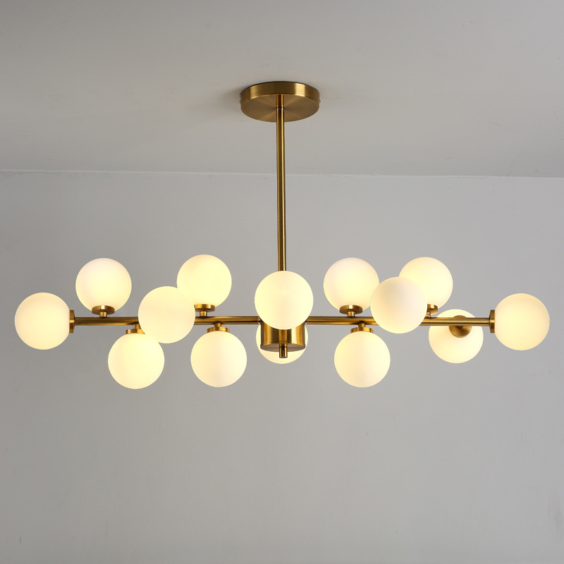 Modern Minimalist Glass Ball Chandelier Living Dining Room Bedroom Gold Ceiling Hanging Lamp Ceiling Mounted Lighting Fixture modern minimalist glass ball chandelier creative living room bedroom lighting restaurant round glass chandelier lighting fixture