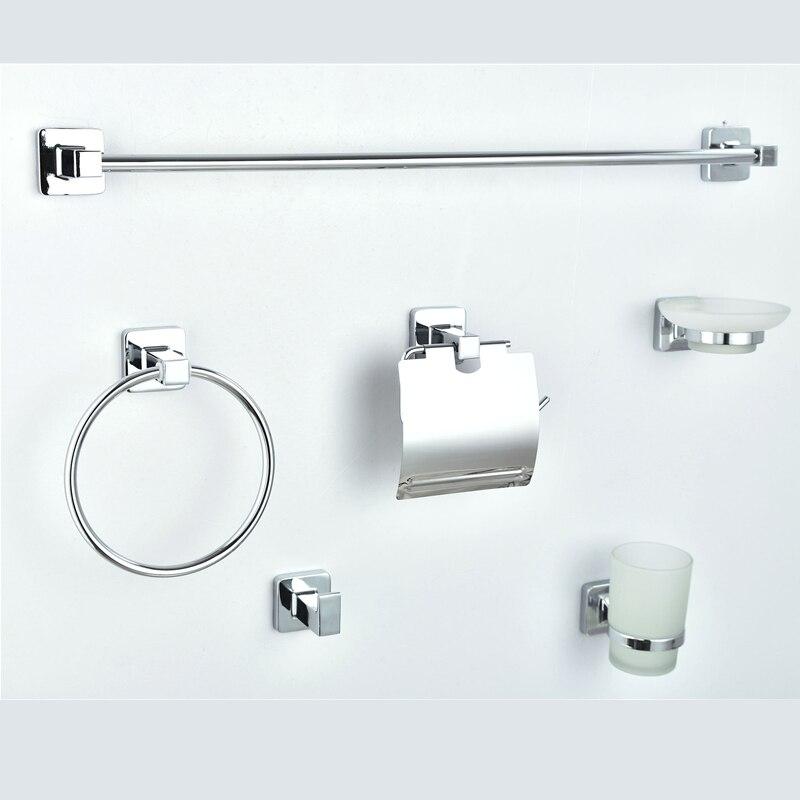 Ensemble de matériel de salle de bain Chrome argent porte-serviettes mural Toliet porte-papier accessoires de bain porte-brosse à dents porte-savon en métal