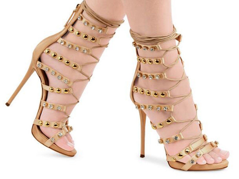 Summer Hot Sale Women Fashion Open Toe Gold Spike Rhinestone High Heel Sandals Lace-up Crystal Gladiator Sandals Free ShippingSummer Hot Sale Women Fashion Open Toe Gold Spike Rhinestone High Heel Sandals Lace-up Crystal Gladiator Sandals Free Shipping