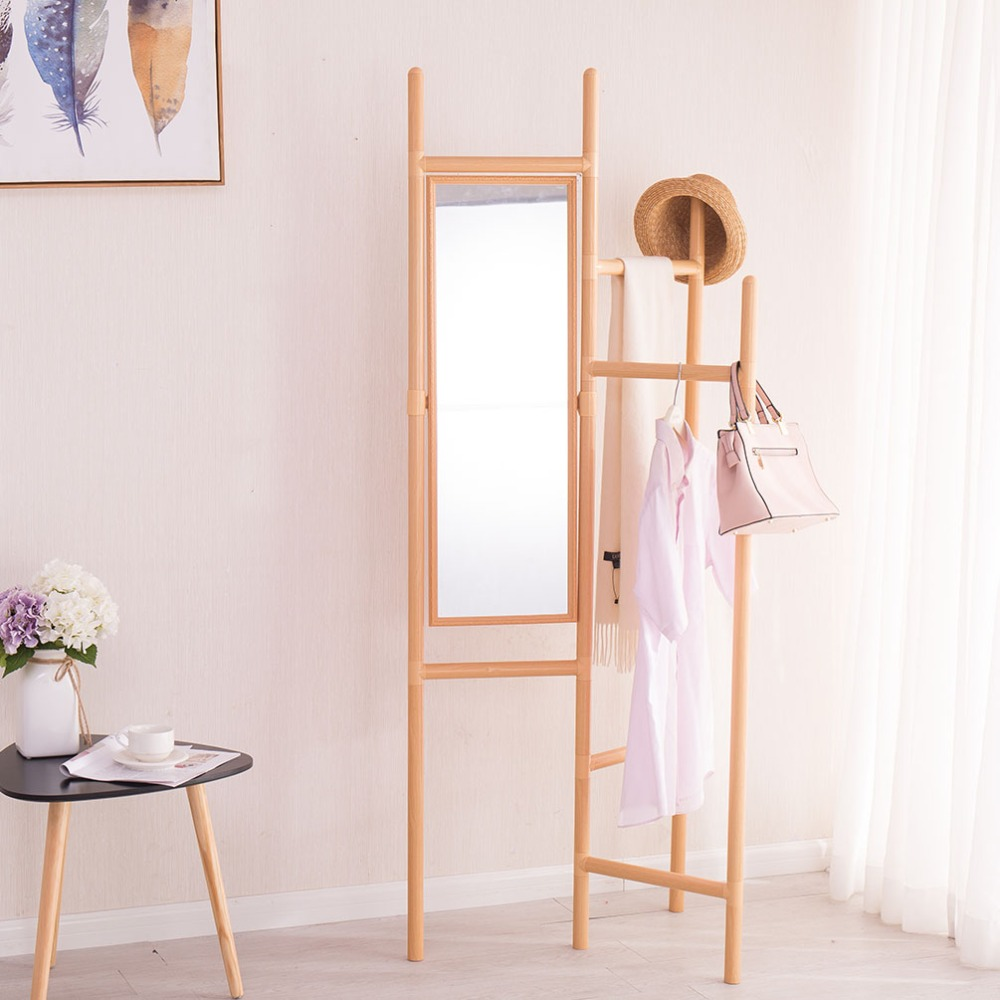 Foldable Garment Rack Coat Hanger Shelf Hall Clothes Bags Storage with Flipped Mirror DQ1704 2