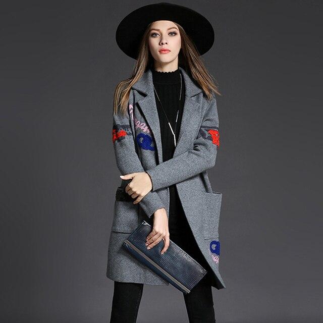 Бесплатная доставка Осень Зима Пальто Для Женщин Покрытие Пряжи Свитер Пальто Миди Длина Траншеи Вышивка Мода Свободные Пальто Ветра