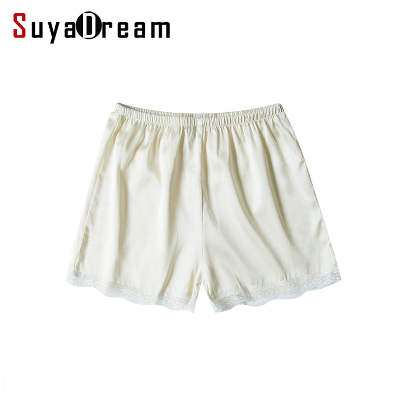 Women Basic Shorts REAL silk Loose box shorts Lace comfort under shorts Solid 2018 Spring Summer Home White Black