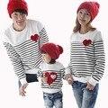 La familia de la moda clothing camisetas a rayas impreso patrón de amor los niños chicos/chicas/madre/padre camiseta conjuntos mamá e hija