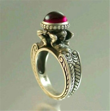 Vintage Mermaid Thai Silver Ring Luxury Red Stone Promise Wedding Rings For Women Bohemian Jewelry Accessories