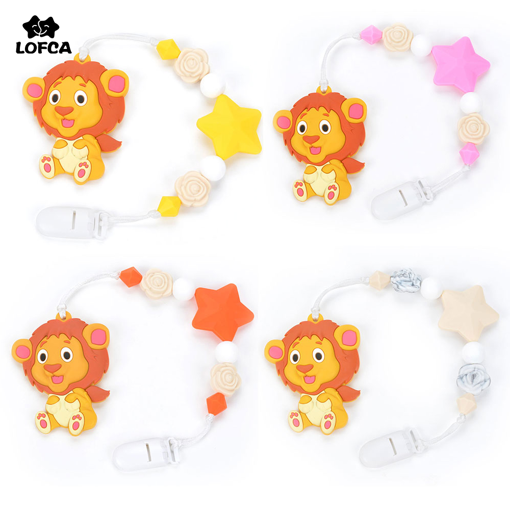 Silicone Teething Pacifier Clips Baby Lion Teether Pendant Clips Flower Beads Teething Toy Food Grade Chew Beads цена 2017