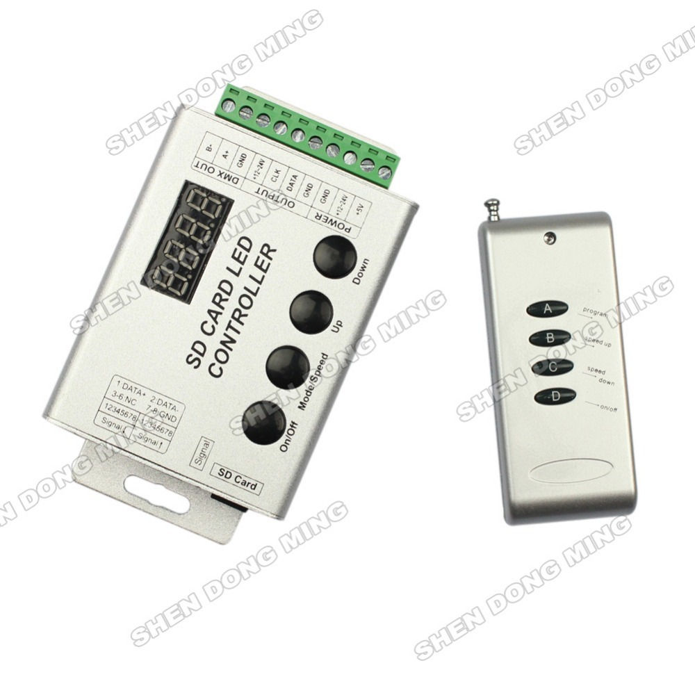 Free Shipping remote with SD card RGB controller aluminum shell for LPD8806,WS2801,WS2811,WS2812B,UCS1903,UCS6803,DMX512 dc5v 12v digital led striplpd6803 8806 ws2811 ws2812b sd card dmx controller pixel led remote controller ws2801 controller