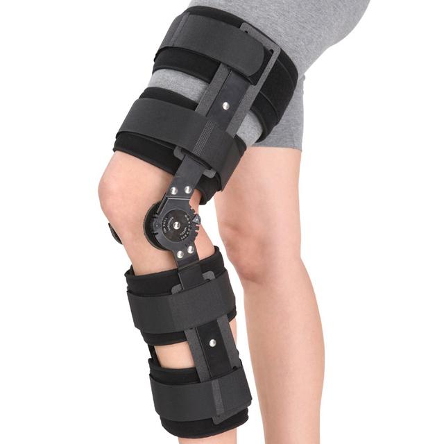 Férula ortopédica Con Bisagras de Deportes Apoyo Rodillera Ajustable Estabilizador Wrap Esguince Post-op Hemiplejía Flexión Extensión