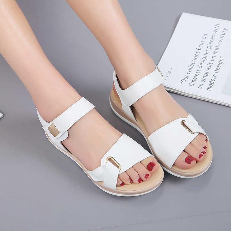 2019 nuevas Sandalias de verano para Mujer zapatos planos para Mujer Sandalias cómodas con plataformas Casual Hook Loop Sandalias Mujer calzado de Mujer