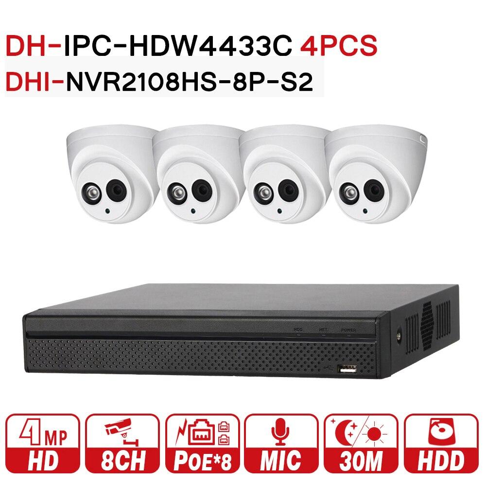 DH Sistema di Telecamere di Sicurezza Macchina Fotografica del IP di 4MP IPC-HDW4433C-A e 8POE NVR2108HS-8P-S2 di Sorveglianza P2P Sistema di Visione A Distanza