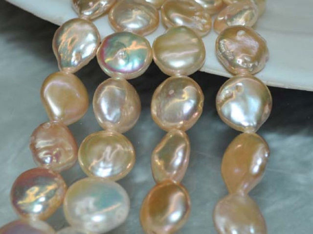 Wholesale 4 strands AA+ Natural 11-12mm pink coin freshwater pearls 15""