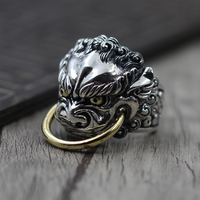 S925 silver jewelry to create personalized retro domineering Men Ring Silver Lion