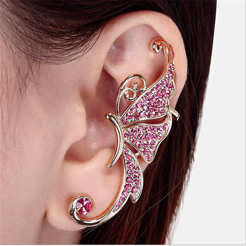 LNRRABC 2pcs/1pc Pink Color Stud Earrings For Women butterfly Piercing Ear Studs Clip Fashion Jewelry Accessories Gift