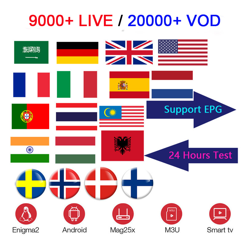 M8S PRO Android tv box IPTV Subscription USA Poland Switzerland French Germany Sweden Nordic indian 9000