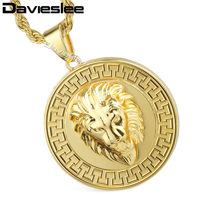 Davieslee Womens Mens Pendant Necklace Lion Head Gold Filleds