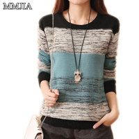 New Fashion Women S Knitted Sweaters Pathwork Long Sleeve O Neck Women Pullovers Casual Woman Sweaters