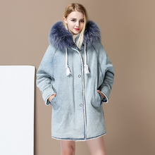 2017 New Winter Real Women's Raccoon Fur Hooded Rex Rabbit Fur liner Middle Long Fur Parka Denim Coat Jacket Plus Size Overcoat