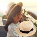 Cute Child Girls Boy Straw Bowknot Sun Hat Kids Large Brim Beach Summer Boater Beach Ribbon Round Flat Top fedora hat 54CM 10