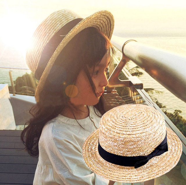 Cute Child Girls Boy Straw Bowknot Sun Hat Kids Large Brim Beach Summer  Boater Beach Ribbon Round Flat Top fedora hat 54CM 10 ce9ab6a49234