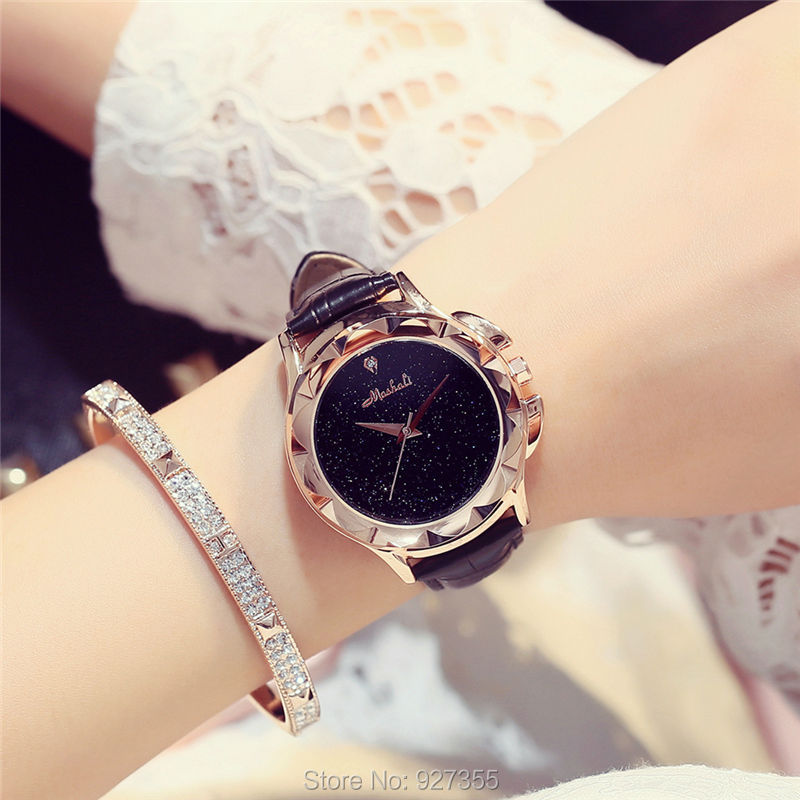 2017 New Mashali Luxury Female Watch Fashion Women Leather Band Carved Dial Gold Watches Women Waterproof relogio masculino