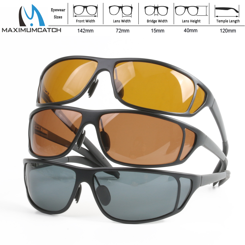 Maximumcatch Titanium Metal Frame Fly Fishing Polarized Sunglasses Brown Yellow And Gray To Choose Fishing Sunglasses chic metal bar embellished full frame sunglasses for women