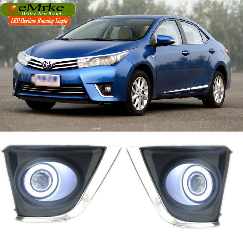 eeMrke COB Angel Eyes DRL For Toyota Corolla 2013 2014 2015 E170 Fog Lights H11 55W Halogen Bulbs Daytime Running Lights Kits eemrke for toyota vios yaris belta 2007 2013 led angel eye drl daytime running light halogen yellow h11 55w fog lights