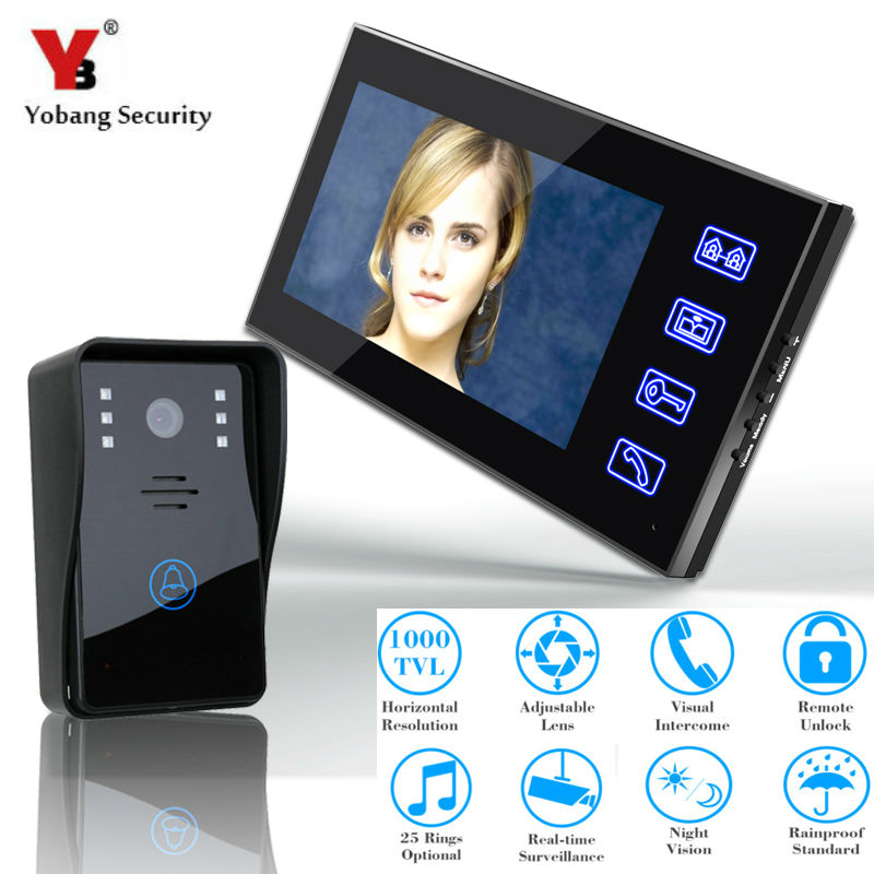 YobangSecurity Video Door Phone 7 Inch Color Doorbell Intercom Entry System Kit Unlock Night Vision Monitor Rainproof IR Camera yobangsecurity 7 inch tft lcd home security video door phone doorbell entry intercom kit 1 ir camera with night vision 2 monitor