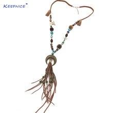 Новое богемное Бохо длинное ожерелье красочные бусы цепь кожаный