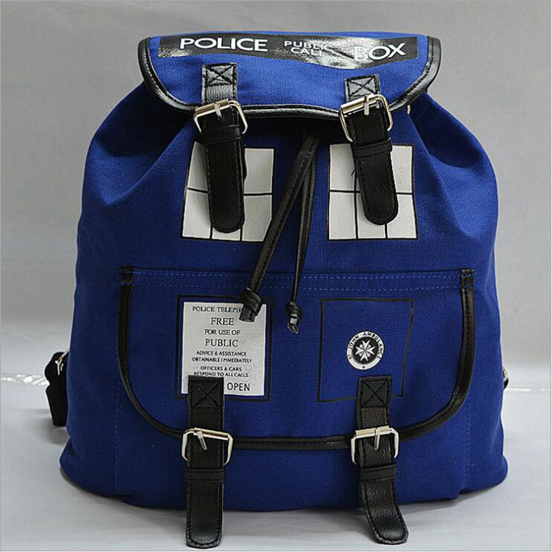 Doctor Who Canvas Printed Anime Dr Who Tardis buckle slouch Children School bag mochila feminina Public Call Police Box Backpack