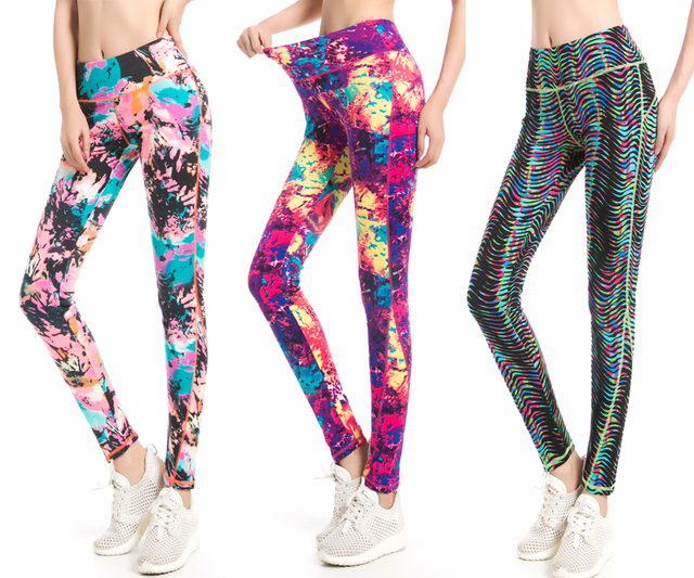 Workout Legging Autumn Winter Female Bright Color Legging High Waist Attractive Graffiti Abstract Printed Trouser