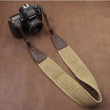 Photo Universal Lanyard Cotton + Cowhide Weaved Colorful DSLR Shoulder Neck Strap for Canon Nikon Mirrorless Digital Camera SLR
