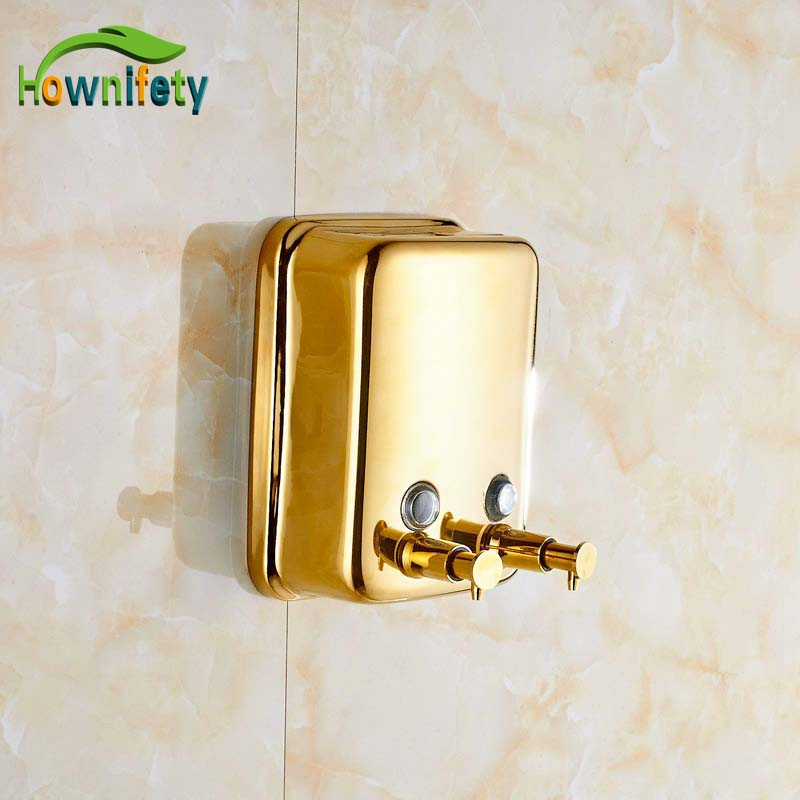 Wall Mounted Bathroom 1000 ml Double Soap Dispenser Wall Mounted Gold Polished free shipping brass black liquid soap dispenser bathroom kitchen stainless steel touch soap dispenser wall mounted 1000ml