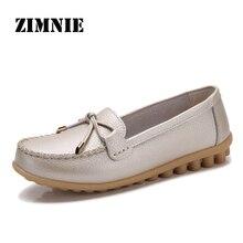 ZIMENIE 브랜드 16 색 소프트 여성 플랫 슈즈 여성 나비 장식 워킹 슈즈 가죽 로퍼 빅 사이즈 35 ~ 44