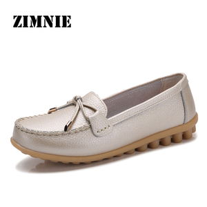 Image 1 - ZIMENIE Brand 16 Colors Soft Woman Flats Shoes Woman Butterfly Decoration Walking Shoes Leather Loafers Big Large Size 35~44