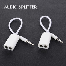 3.5 Mm Dual Audio Lijn Headset Jack Koptelefoon Splitter Een In Twee Koppels Liefhebbers Adapter Voor Iphone MP3 MP4 Draagbare media Player(China)