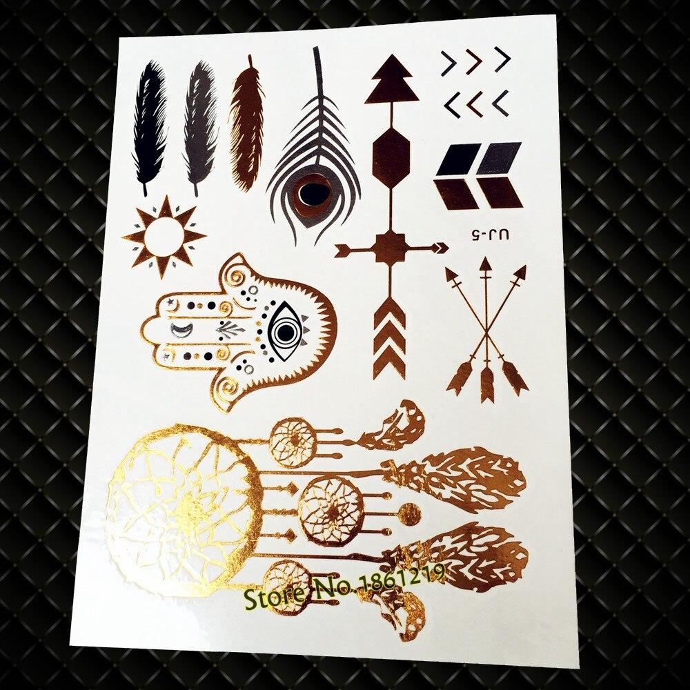 25 Gaya Hot Emas Hamsa Tangan Panah Dreamcatcher Tatoos Sementara Skun Female 63 Brass 75 X 18 Mm Tebal 100pcs Pipih Tato Palsu Tahan Air Seni Tubuh Kilat Logam Stiker