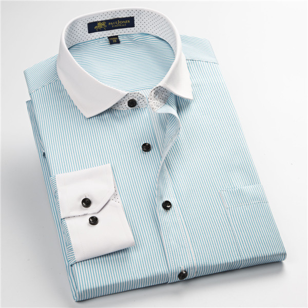 Pauljones 57xx дешевый воротник дизайн с длинными рукавами для мужчин s полосатые рубашки Повседневное платье Мужская рубашка в клетку Высококачественная Мужская одежда - Цвет: 5752