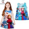 Summer Baby Girls Clothes Sleeveless Elsa Anna Dresses Butterfly Princess Dress Queen Snow Elsa Formal Dress For Toddler Kids