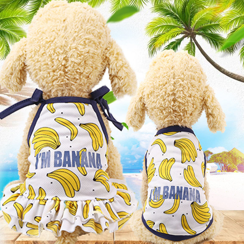 Banana Couple Dog Dresses For Small Dogs Chihuahua Summer Puppy Fruit Dress Pomeranian Princess Tutu Shih Tzu Yorkshire Clothes