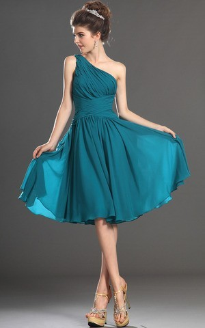 Free Shipping 2014 Cheap Turquoise Chiffon Short One Shoulder Sexy Vogue Fashion Pleated Simple Bridesmaid Dress Short