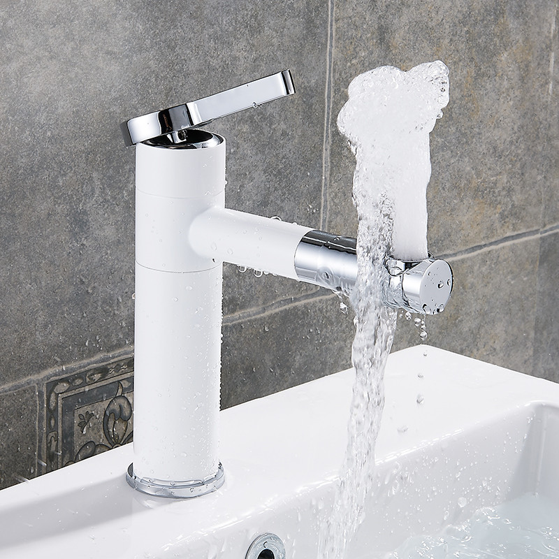 ZGRK Basin Mixer Tap 360 Degree Rotate Type Basin Faucet Black and Silver chrome Finish Single Hand Bathroom Faucets