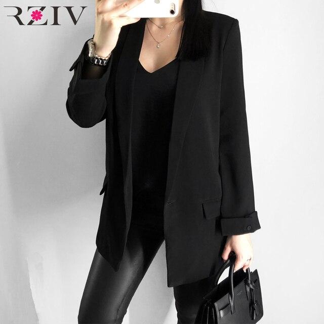 RZIV ผู้หญิง blazer สูทแจ็คเก็ตเสื้อลำลองสีทึบเดียวเสื้อ OL blazer สูท