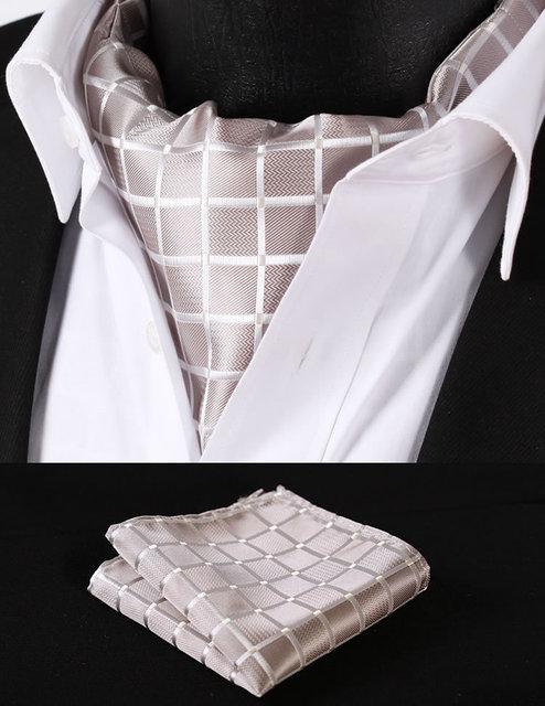 Rc302e Pure Beige compruebe seda corbata tejida corbata Ascot Pocket Square pañuelo Set Suit