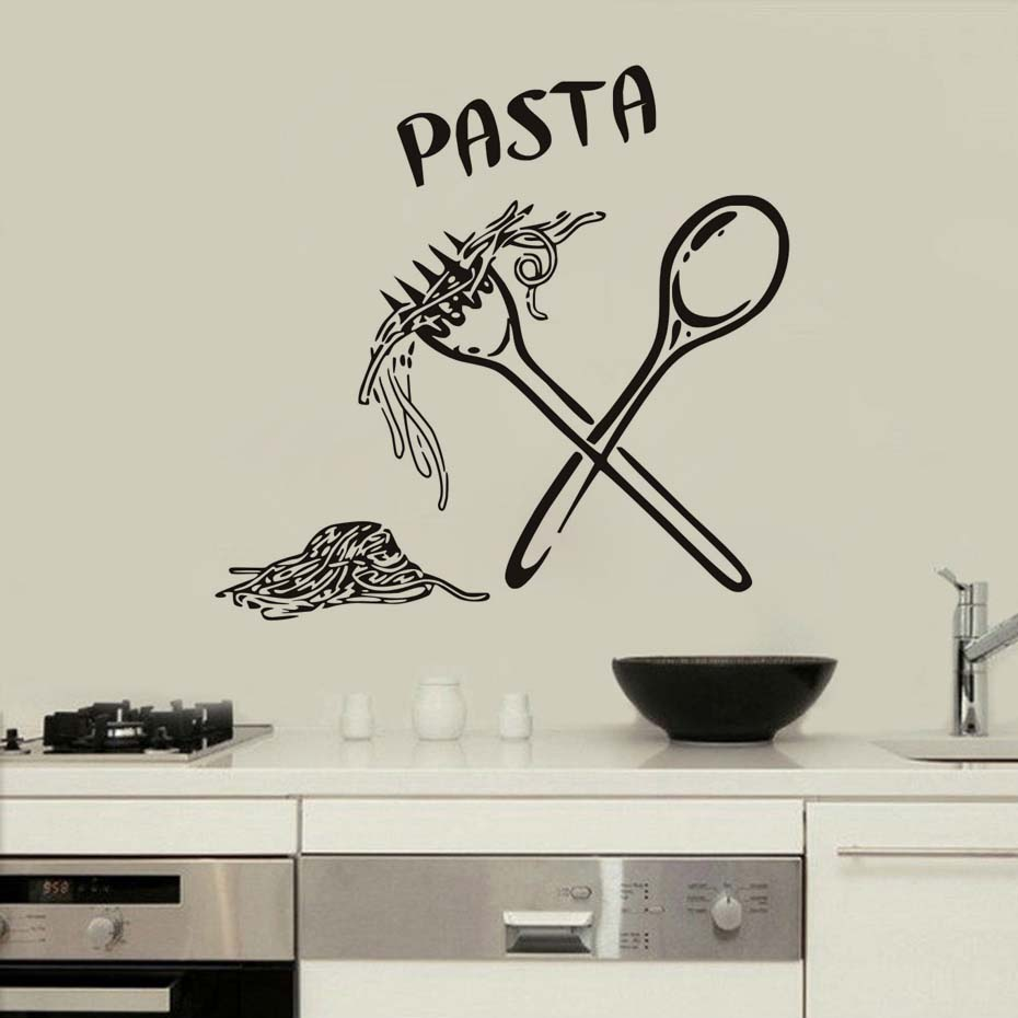 Italian Pasta Food Meal Kitchen Wall Art Stickers Spoon Folk Cafe Wall Decal Home Diy Decoration Removable Decor Wall Stickers-in Wall Stickers from ...