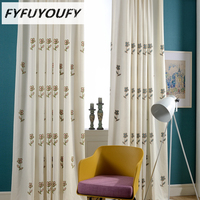 Cotton Linen Modern Scenic Embroidered Window Curtains For Kids Room Girls Boys Baby Bedroom Design Blackout