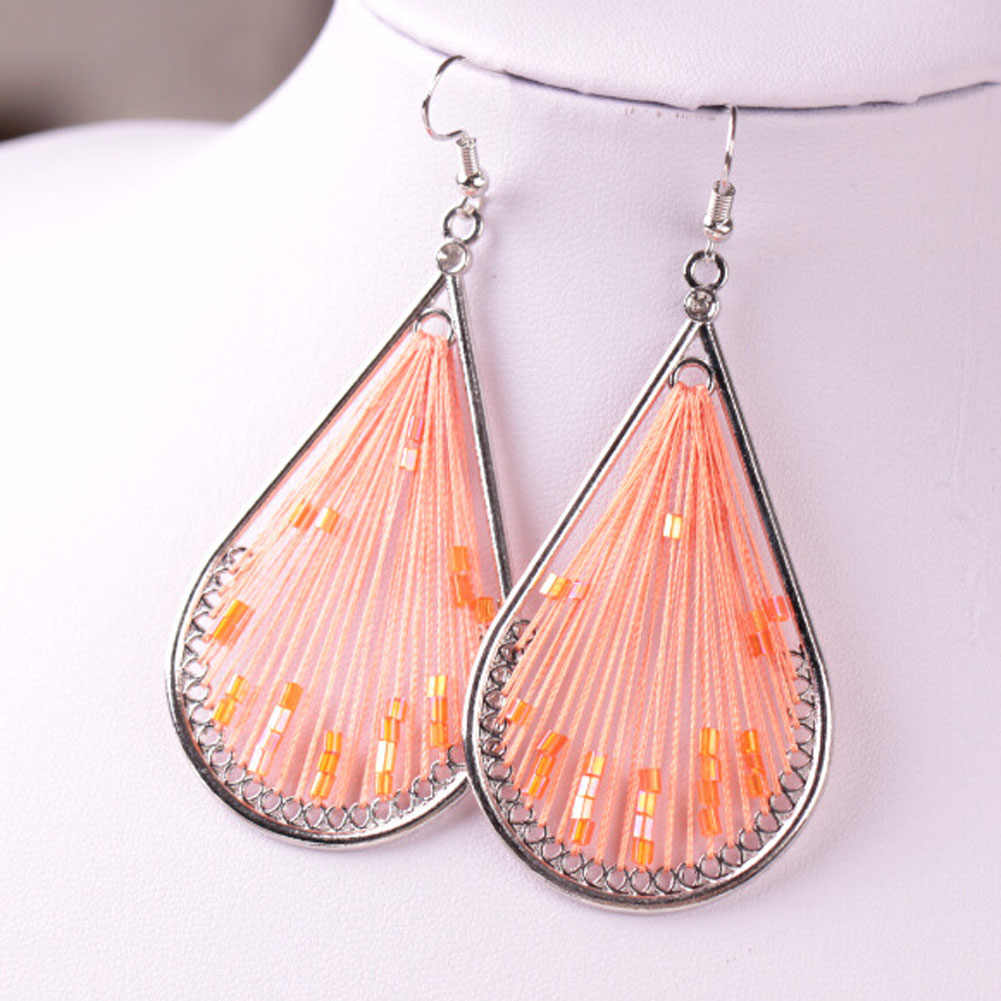 2018 Bohemian National Style Colorful Peacock Tail Wire Thread Bead Drop Earrings Tail Silk Dangle Geometric Oval Earring Women